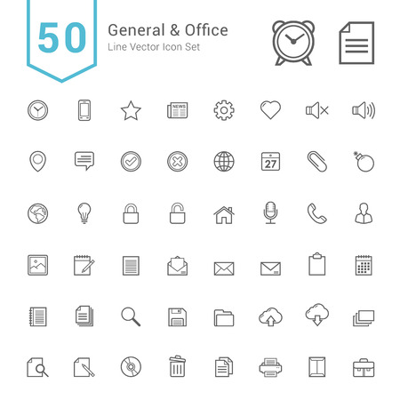 general: General and Office Icon Set. 50 Line Vector Icons.