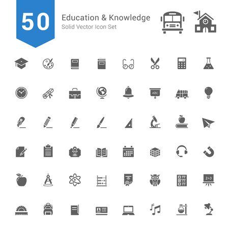 Éducation et connaissances Icon Set. 50 solides icônes vectorielles. Vecteurs