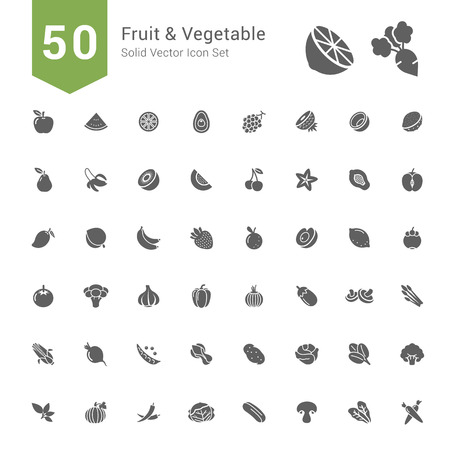 Fruit and Vegetable Icon Set. 50 Solid Vector Icons.
