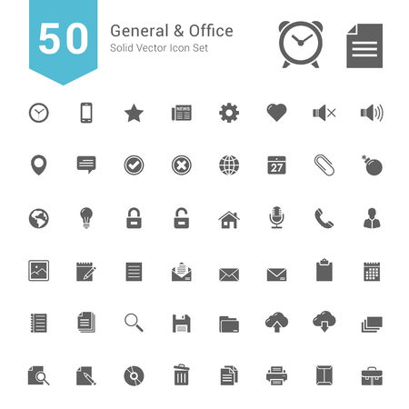general: General and Office Icon Set. 50 Solid Vector Icons.