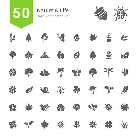 Naturaleza y Vida Conjuntos de Iconos. 50 de vectores iconos sólidos. Ilustración de vector