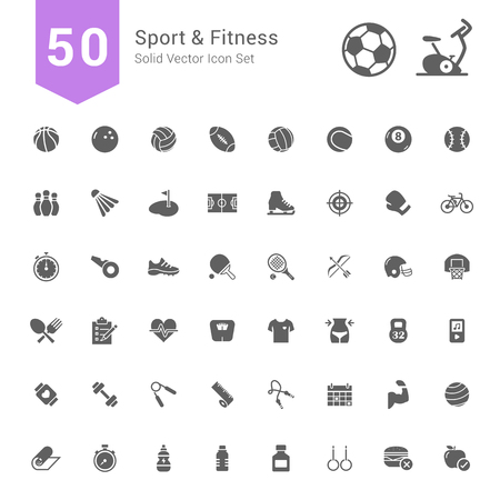 Sport and Fitness Icon Set. 50 Solid Vector Icons.