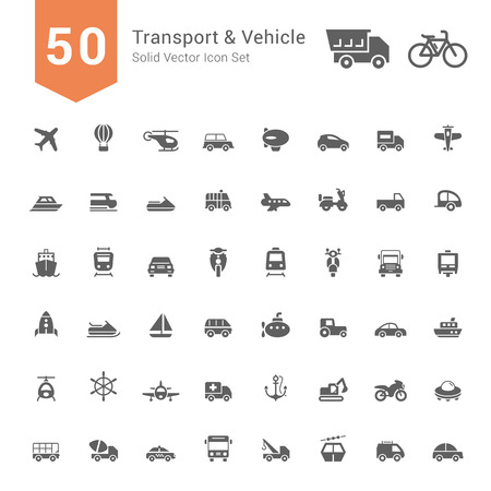 수송: 운송 및 차량 아이콘을 설정합니다. 50 개 고체 벡터 아이콘.