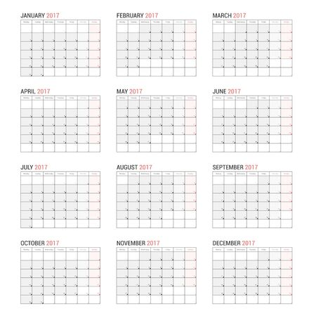 Yearly Calendar Template For  To  Royalty Free Cliparts