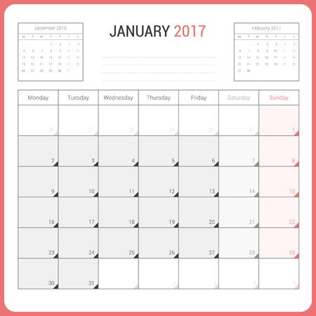 Calendar Planner for January 2017 Vector Design Template Stationary. Week Starts Monday. Illustration