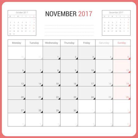 Calendar Planner for November 2017 Vector Design Template Stationary. Week Starts Monday.