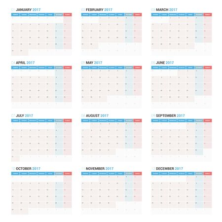calendario julio: Plantilla Calendario Planificador anual Wall en 2017 año. Diseño del vector plantilla de impresión. La semana empieza el lunes.