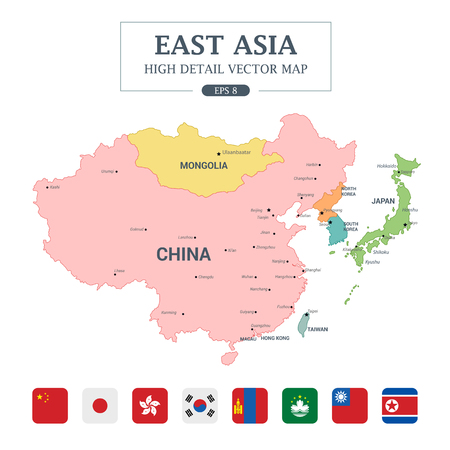 East Asia Map Full Color High Detail Separated all countries Vector Illustration Vectores