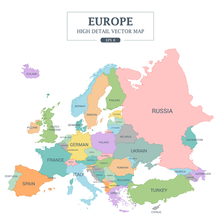 Europe Map Full Color High Detail Separated all countries Vector Illustration