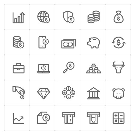 strongbox: Icon set - money and finance outline stroke vector illustration
