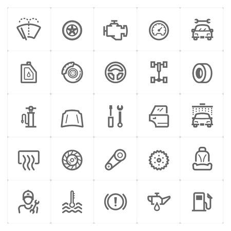 Mini Icon set - garage and auto part icon vector illustration