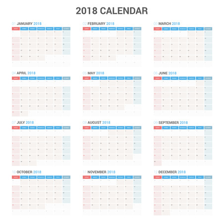 Yearly Wall Calendar Planner Template for 2018 Year. Vector Design Print Template. Week Starts Sunday.