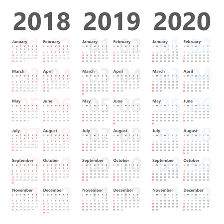 Yearly calendar template for 2018 to 2020.