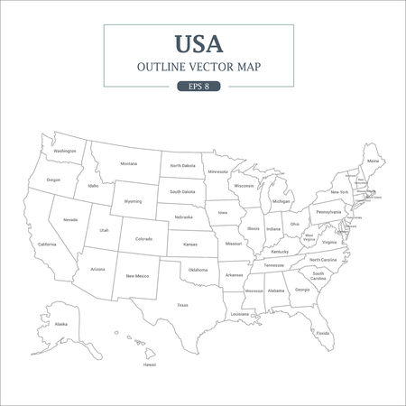 USA Map outline High Detail Separated all states Vector Illustration.