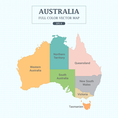 Australia Map Full Color High Detail Separated all states Vector Illustration