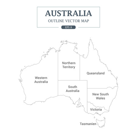 Australia Map outline High Detail Separated all states on white background Vector Illustration