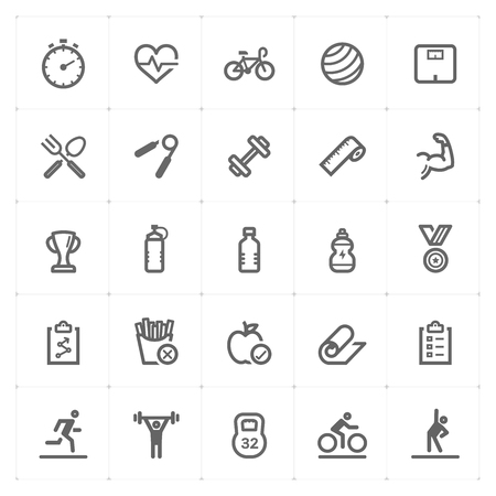 Mini Icon set – Fitness icon vector illustration Stock Illustratie