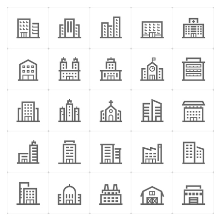 small Icon set – Building icons vector illustration Иллюстрация