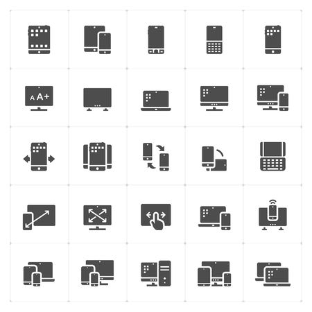 Icon set - device and responsive solid icon style vector illustration on white background. Иллюстрация
