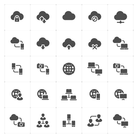 Icon set - network and connectivity solid icon style vector illustration on white background.