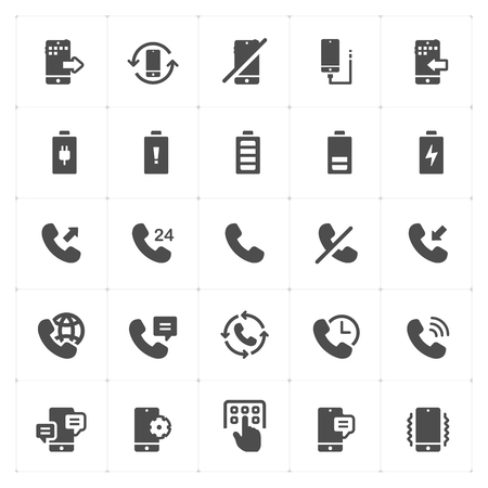 Icon set - phone and calling solid icon style vector illustration on white background. Иллюстрация