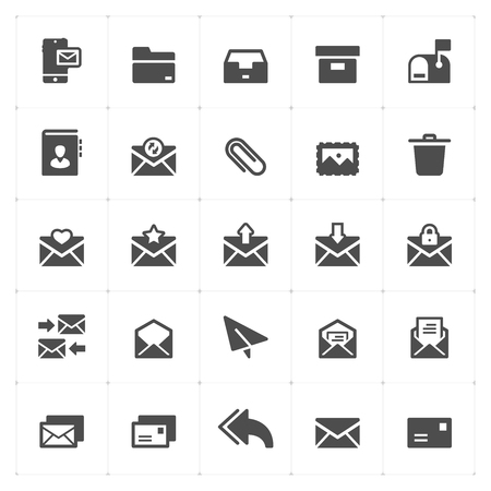 Icon set - mail and letter solid icon style vector illustration on white background Иллюстрация