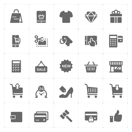 Icon set - shopping and commerce solid icon style vector illustration on white background
