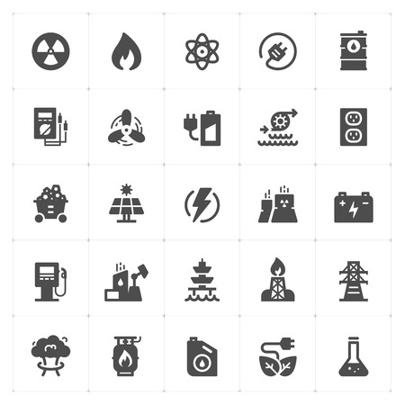 Icon set - energy and power filled icon style vector illustration on white background Иллюстрация
