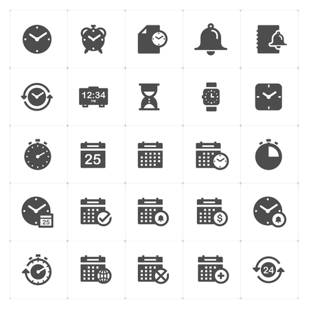 Time and schedule filled icon style vector illustration on white background