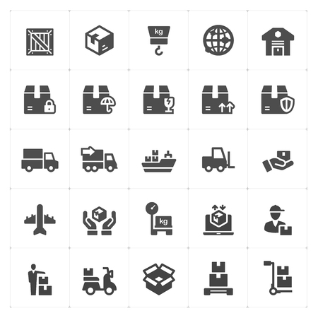 logistic and delivery filled icon style vector illustration on white background
