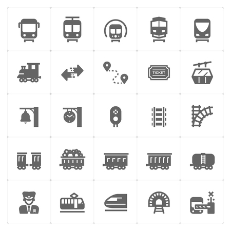Icon set - train and transportation filled icon style vector illustration on white background