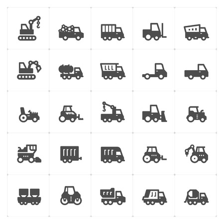 Icon set - construction and machine filled icon style vector illustration on white background
