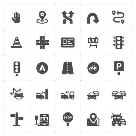 Icon Set - Verkehr und Unfall gefüllt Icon Style Vektor-Illustration auf weißem Hintergrund Vektorgrafik