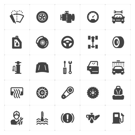 Icon set - garage and auto filled icon style vector illustration on white background