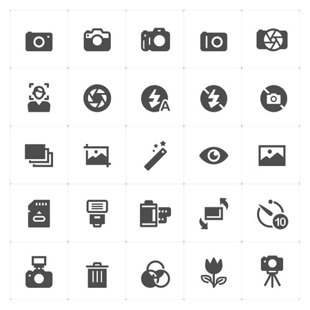 Icon set - camera and photograph filled icon style vector illustration on white background Иллюстрация