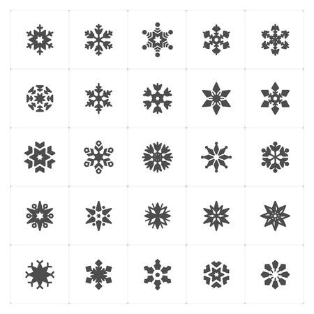 Icon set - snowflake filled icon style vector illustration on white background