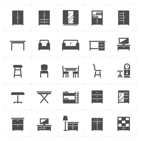 Icon set - Furniture filled icon style vector illustration on white background
