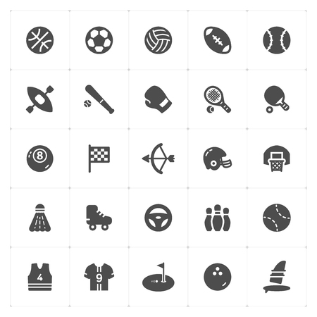 Icon set - Sport filled icon style vector illustration on white background