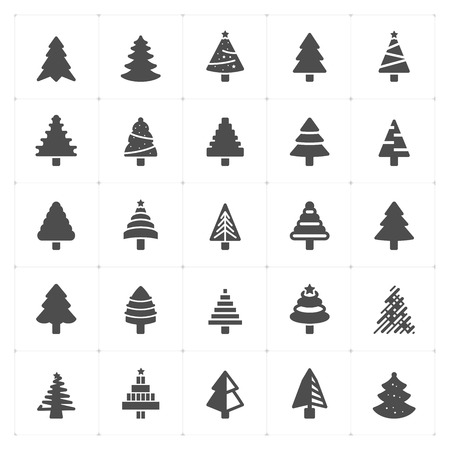 Icon set - Christmas Tree filled icon style vector illustration on white background