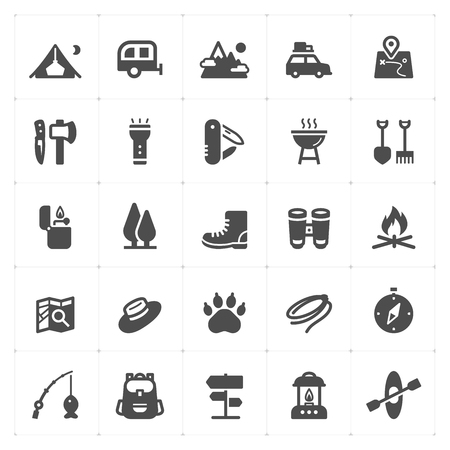 Icon set - Camping filled icon style vector illustration on white background Иллюстрация