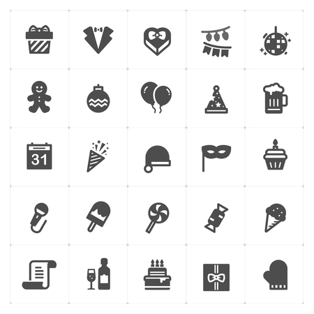 Icon set - Party filled icon style vector illustration on white background Иллюстрация