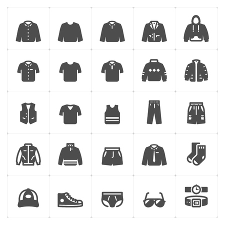 Icon set - Clothing Man filled icon style vector illustration on white background
