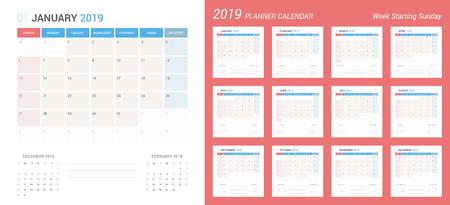 Vector of 2019 new year calendar simple planner design. Week Starts Sunday. Иллюстрация