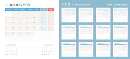 Vector of 2019 new year calendar simple planner design. Week Starts Monday.