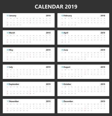 Vector of 2019 new year calendar landscape design.