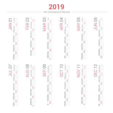 Vector of 2019 new year calendar portrait design. Stok Fotoğraf - 108458550