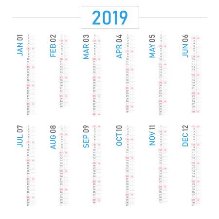Vector of 2019 new year calendar portrait design.
