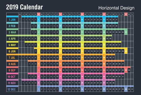 Horizontal 2019 Calendar design. Фото со стока - 115556202