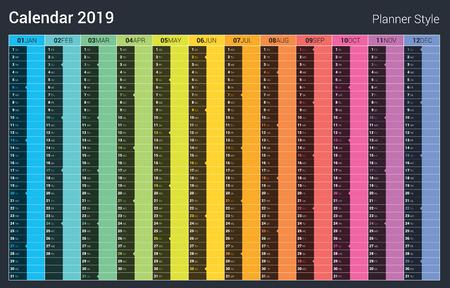 Calendar 2019 planner design.