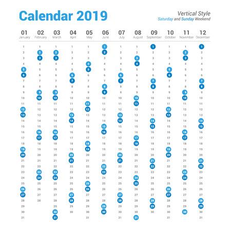 Vertical 2019 calendar vector design.